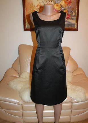 H&m идеальное черное платье миди атласное вечернее коктейльное h&m