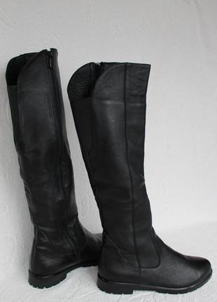 Кожаные зимние сапоги, сапожки на низком ходу 37 размера