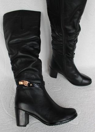Кожаные зимние сапоги, сапожки на устойчивом каблуке 36 размера