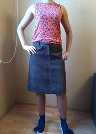 Универсальная юбка миди из качественного вельвета