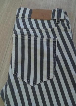 Женское брюки, штаны , джинсы ,джегинсы ,скины облегающие в полоску h&m хс-с