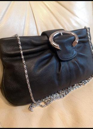 Красивая кожаная сумка кроссбоди на цепочке- 100% натуральная кожа