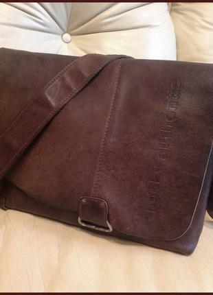 Объемная крутая кожаная сумка почтальон – 100% натуральная античная кожа