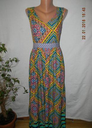 Длинное натуральное платье с ярким принтом