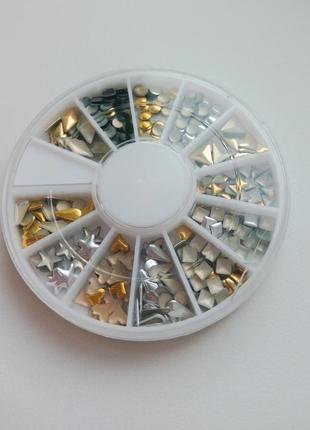 Набор комплект на ногти, маникюр 3d золото, серебро, черный, украшение