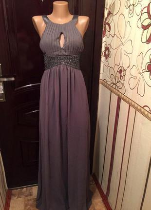 Модное вечернее платье длинное тренд 2018 с камнями