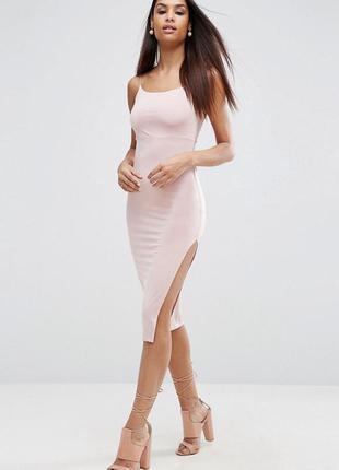 Пудровое платье миди asos,р-р 12