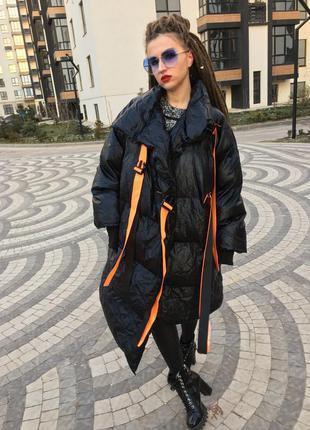 Пуховик одеяло парка пальто чёрный цвет оверсайз oversize