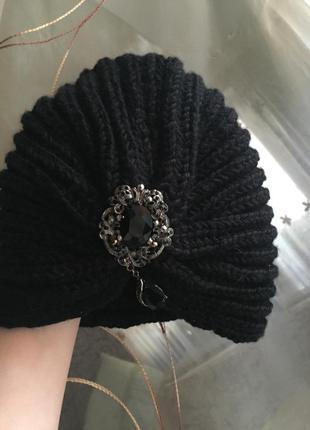 Шапка чалма женская черная зима зимняя тюрбан