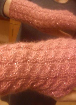 Митенки дымчато-розовые косы