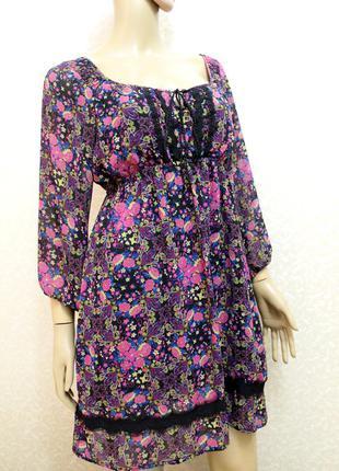Шикарное шифоновое платьев цветочный принт размер38 / 10 / m