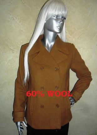 Теплое шерстяное рыжее полу пальто  h&m m-l 10