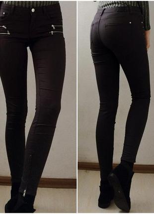 Новые темно-серые джинсы скинни с замочками zara, s (26)