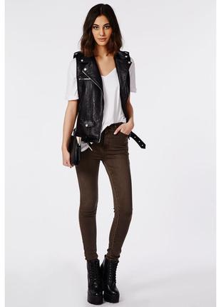 Коричневые джинсы с пропиткой под кожу,скинни,штаны,брюки,большой размер. next