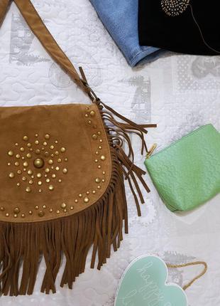 New look замшевая сумка с бахромой и фурнитурой хиппи гранж хобо шоппер седельная