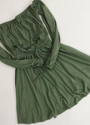 Трикотажное платье цвета хаки с голыми плечиками от asos
