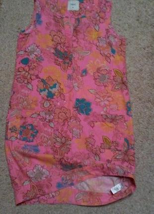 Next красивое льняное платье актуальный принт цветы uk10