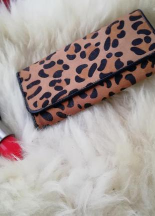 Эффектный кожаный кошелек, натуральная кожа, мех пони, леопардовый принт, леопард