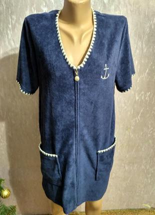 Тонкий махровый халат с коротким рукавом на молнии размер xl