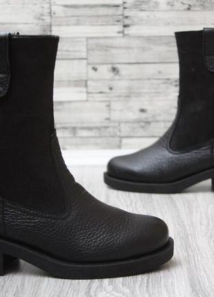 Полусапожки зимние черные ботинки кожаные