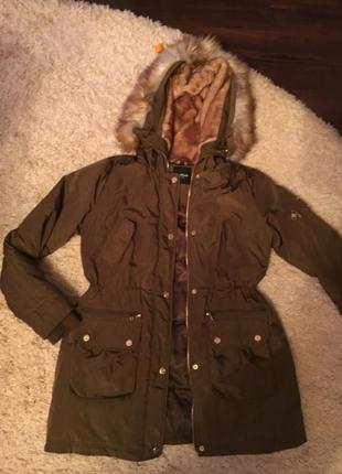 Куртка парка bebe америка хаки зелёная курточка пуховик пальто