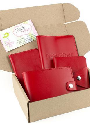 Подарочный набор №7 (красный): обложка на паспорт, документы + картхолдер + портмоне п1