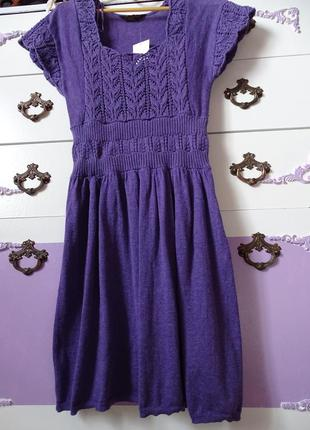Трикотажное вязанное платье miss selfridge размер 10 , m коттон/шерсть