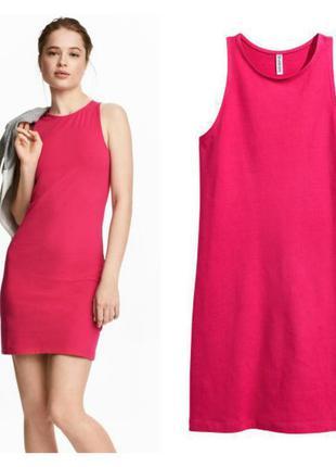 Трикотажное платье майка фуксия xs от h&m