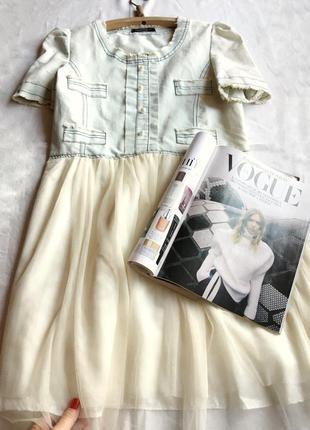 Шикарное платье с сатином тюлью белое джинсовое в стиле бохо asos
