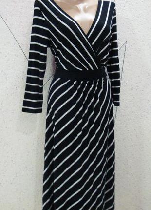 Натуральное платье длинное фирменное в полоску