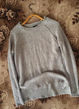 Крутой актуальный серый свитер mango papaya вязаный оверсайз шерстяной