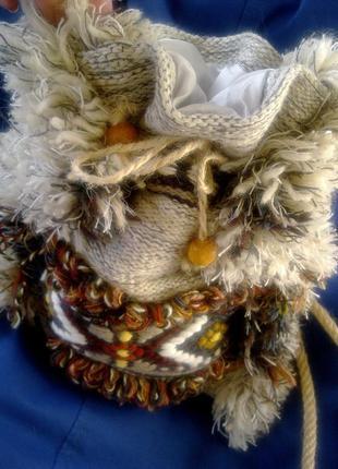 Бохо (этно) - сумка-мешок hand made, текстиль, натуральная шерсть