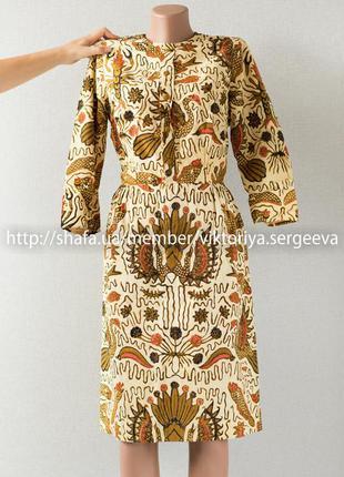 Стильное хлопковое платье миди длины в принт сшитое на заказ