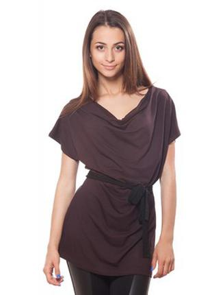 Трикотажная туника, футболка коричневая/шоколадная/50-52-54 размер/большой размер/etam