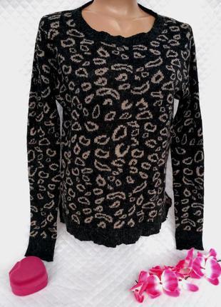 Теплый свитер  с принтом с добавлением ангоры размер 12-14 (44-48)