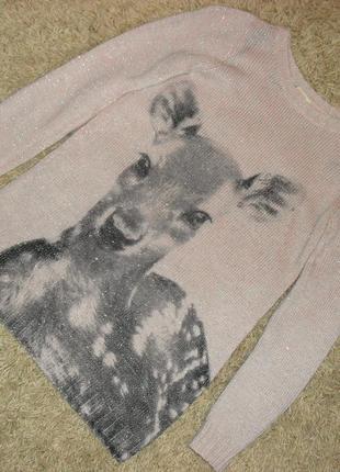 Нежный свитер с принтом и  люрексом