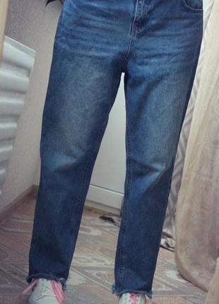 Крутые джинсы бойфренды denim 100% коттон низ бахрома