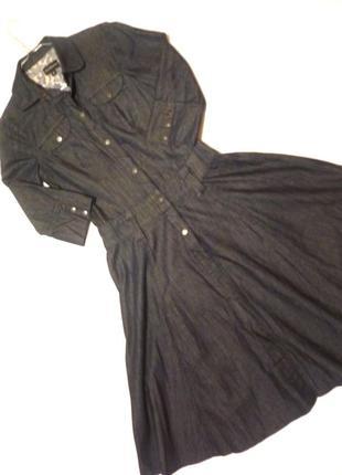 Стильное джинсовое платье рубашка юбка клеш ware denim люкс