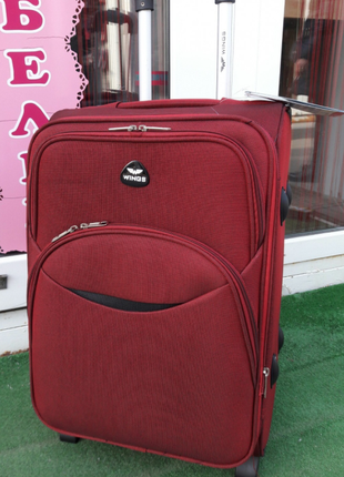 Супер цена! средний чемодан тканевый бордовый 4-х колесный марсала валіза середня