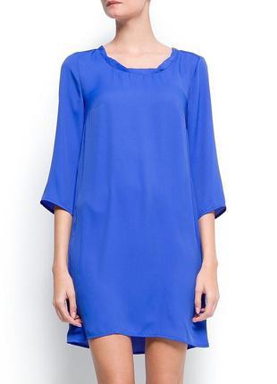 Новое платье mango голубое васильковое легкое летнее три коктейльное свободное нарядное