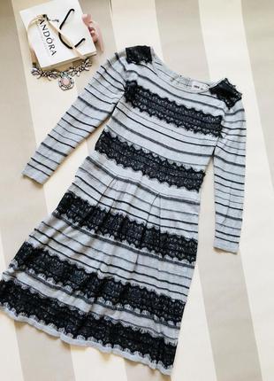 Трикотажное платье с кружевом asos