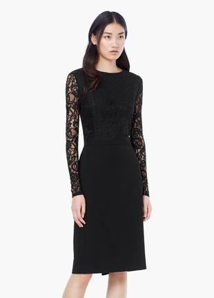 Новое платье mango футляр чехол миди кружевное черное нарядное вечернее длинным рукавом