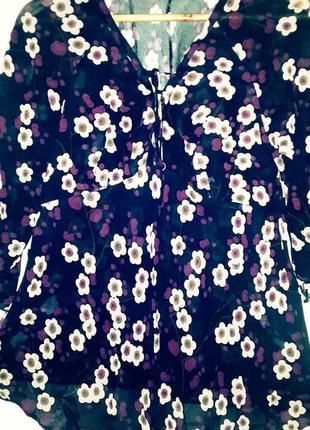 Платье - туника в цветочек с завязками