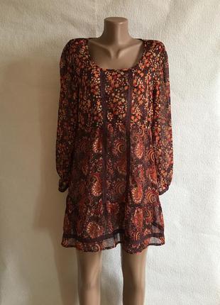 Туника платье прозрачное цветастое яркое в стиле zara