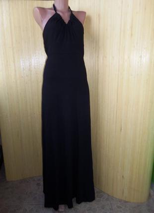 Трикотажное чёрное вечернее платье макси под грудь с открытой спиной