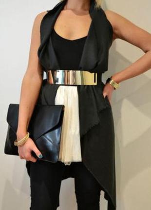 Красивый широкий металлический пояс-зеркало на талию черный золото h&m