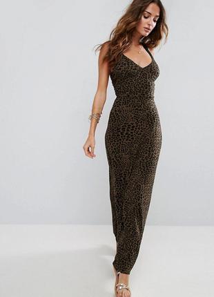 Леопардовое платье макси asos,р-р 2