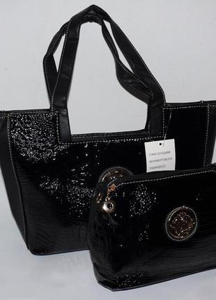 Стильная сумка двойка с косметичкой
