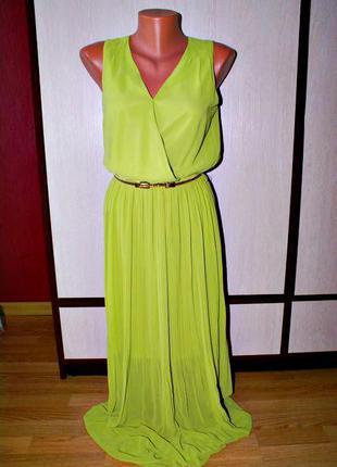 Платье в пол плисе салатовое вечернее