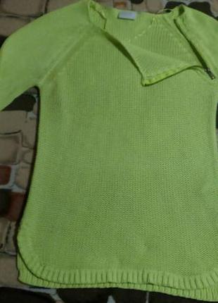 Женский свитер вязаный джемпер яркий свитшот с молнией